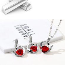 Hattyús nyaklánc és fülbevaló szett Swarovski kristállyal, piros
