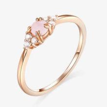 Ezüst gyűrű üveglencsével, cirkóniumkristállyal, rosegold, 7-es méret