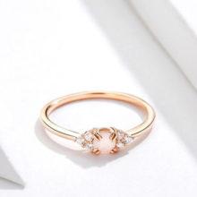 Ezüst gyűrű üveglencsével, cirkóniumkristállyal, rosegold, 8-as méret