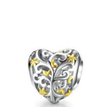 Ezüst charm, áttört szív –  Pandora stílus