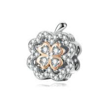 Ezüst gyöngy charm lóherével –  Pandora stílus