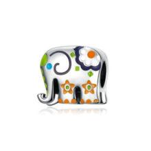 Ezüst elefánt charm virágokkal –  Pandora stílus