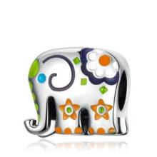 Ezüst charm, elefánt virágokkal