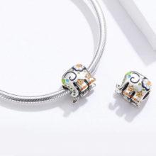 Ezüst charm, elefánt virágokkal –  Pandora stílus