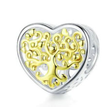 Ezüst charm, szív életfával