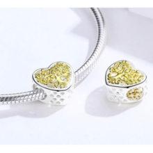 Ezüst charm, szív életfával –  Pandora stílus