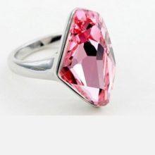 Gyémánt formájű gyűrű, Világos rózsaszín, Swarovski köves, 7,25