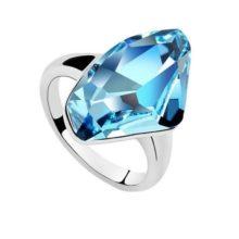 Gyémánt formájű gyűrű, Aquamarine, Swarovski kristállyal díszített, 7,25