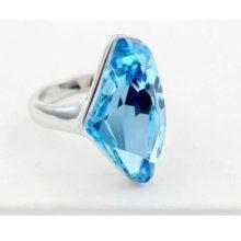 Gyémánt formájű gyűrű, Aquamarine, Swarovski kristállyal díszített, 6,5
