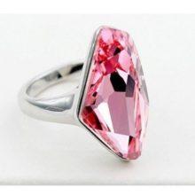 Gyémánt formájű gyűrű, Világos rózsaszín, Swarovski kristállyal díszített, 6,5
