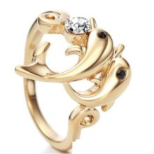 Delfines gyűrű, Fehér, Swarovski köves, 9