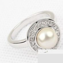 Gyöngyös gyűrű, Swarovski köves, 7,25
