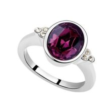 Kerek köves gyűrű, Ametiszt, Swarovski kristállyal díszített, 6,5