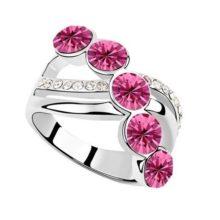 Elegáns köves gyűrű, Rózsaszín, 6,5