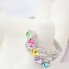 Elegáns köves gyűrű, Multicolor, 8