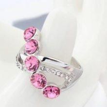 Elegáns köves gyűrű, Rózsaszín, 7,25