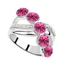 Elegáns köves gyűrű, Rózsaszín, 8