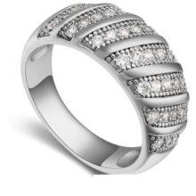 Divatos karika gyűrű, Rhodium, 8,5
