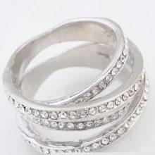 5 sávos gyűrű, Kristály, 8,5