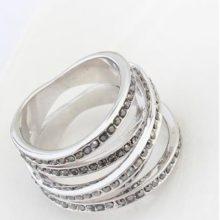 5 sávos gyűrű, Jet fémes ezüst, 7,5