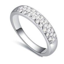 Ezüst színű karika gyűrű, Kristály, 6,5