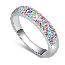 Ezüst színű karika gyűrű, Multicolor, 7,5
