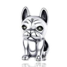 Ezüst charm, bulldog