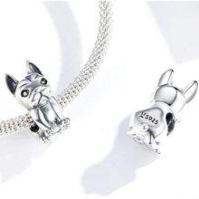 Ezüst charm, bulldog –  Pandora stílus