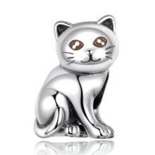 Ezüst charm, macska –  Pandora stílus