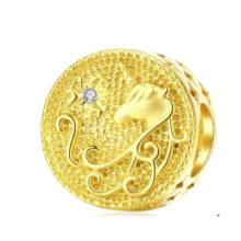 Ezüst charm unikornissal, arany –  Pandora stílus
