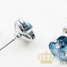 Szív ékszer szett, Aquamarine, Swarovski köves