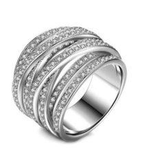 Ezüst színű gyűrű cirkónia kövekkel, 6