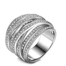 Ezüst színű gyűrű cirkónia kövekkel, 7
