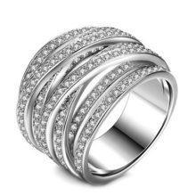 Ezüst színű gyűrű cirkónia kövekkel, 8