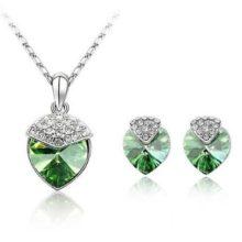 Szív alakú ékszer szett, Peridot zöld, Swarovski kristállyal díszített