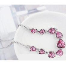 Szíves alakú ékszer szett, Rózsaszín, Swarovski köves