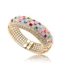 Extravagáns karkötő Swarovski kristályokkal arany, multicolor