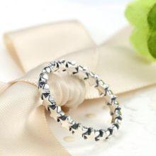 Csillag mintás ezüst gyűrű (Pandora stílus)