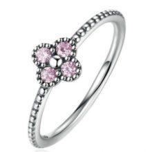 Apró virágos ezüst gyűrű, Pink, 6 (Pandora stílus)