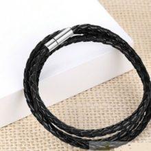 Fonott hármas bőr karkötő, Fekete