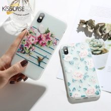 KISSCASE 3D Relief Flower Phone Case For iPhone 7 8 Plus XS Max XR Rose Floral Soft Silicon Case For iPhone 6 6S X 8 7 Plus 5 SE
