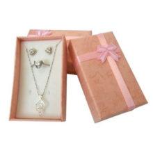 Ékszerdoboz masnival, papírból, rózsaszín