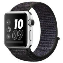Apple watch óraszíj, nejlon, 42 mm, fekete