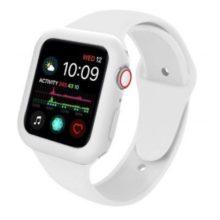 Apple watch óraszíj tokkal, szilikon, 38 mm, M, L, fehér