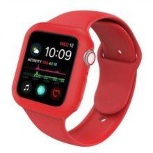 Apple watch óraszíj tokkal, szilikon, 44 mm, M, L, piros
