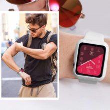 Apple watch óraszíj tokkal, szilikon, 42 mm, M, L, fehér