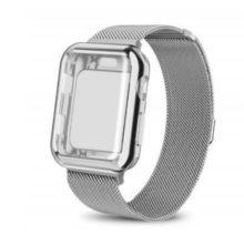 Apple watch óraszíj tokkal, rozsdamentes acél, 42 mm, ezüst