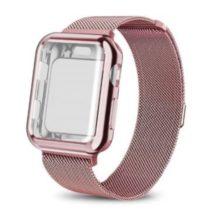 Apple watch óraszíj tokkal, rozsdamentes acél, 42 mm, rózsaszín