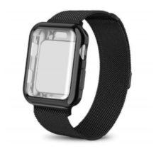 Apple watch óraszíj tokkal, rozsdamentes acél, 38 mm, fekete