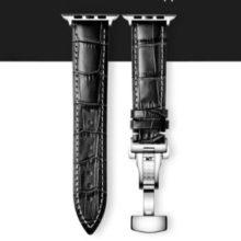 Apple watch óraszíj fém csattal, bőr, 42-44 mm, fekete